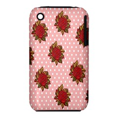 Pink Polka Dot Background With Red Roses iPhone 3S/3GS