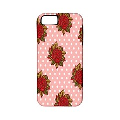 Pink Polka Dot Background With Red Roses Apple Iphone 5 Classic Hardshell Case (pc+silicone)