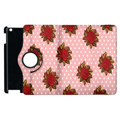 Pink Polka Dot Background With Red Roses Apple Ipad 2 Flip 360 Case