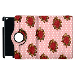 Pink Polka Dot Background With Red Roses Apple iPad 3/4 Flip 360 Case