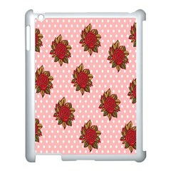 Pink Polka Dot Background With Red Roses Apple Ipad 3/4 Case (white)