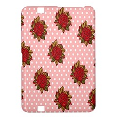 Pink Polka Dot Background With Red Roses Kindle Fire Hd 8 9