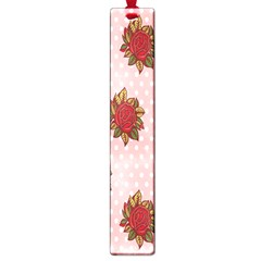 Pink Polka Dot Background With Red Roses Large Book Marks