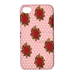 Pink Polka Dot Background With Red Roses Apple Iphone 4/4s Hardshell Case With Stand