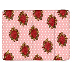 Pink Polka Dot Background With Red Roses Samsung Galaxy Tab 7  P1000 Flip Case