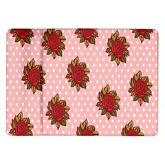 Pink Polka Dot Background With Red Roses Samsung Galaxy Tab 10 1  P7500 Flip Case