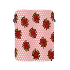 Pink Polka Dot Background With Red Roses Apple Ipad 2/3/4 Protective Soft Cases