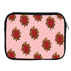 Pink Polka Dot Background With Red Roses Apple Ipad 2/3/4 Zipper Cases