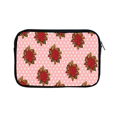 Pink Polka Dot Background With Red Roses Apple iPad Mini Zipper Cases