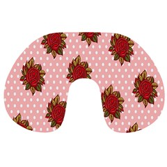 Pink Polka Dot Background With Red Roses Travel Neck Pillows