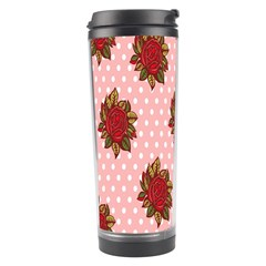 Pink Polka Dot Background With Red Roses Travel Tumbler
