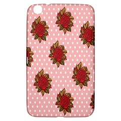 Pink Polka Dot Background With Red Roses Samsung Galaxy Tab 3 (8 ) T3100 Hardshell Case
