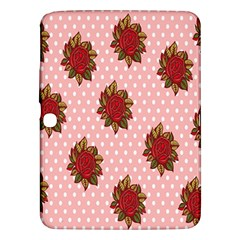 Pink Polka Dot Background With Red Roses Samsung Galaxy Tab 3 (10.1 ) P5200 Hardshell Case