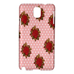 Pink Polka Dot Background With Red Roses Samsung Galaxy Note 3 N9005 Hardshell Case