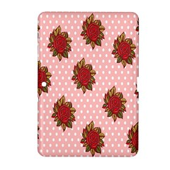 Pink Polka Dot Background With Red Roses Samsung Galaxy Tab 2 (10.1 ) P5100 Hardshell Case