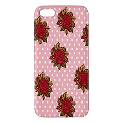 Pink Polka Dot Background With Red Roses iPhone 5S/ SE Premium Hardshell Case