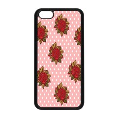 Pink Polka Dot Background With Red Roses Apple iPhone 5C Seamless Case (Black)