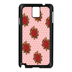 Pink Polka Dot Background With Red Roses Samsung Galaxy Note 3 N9005 Case (Black)