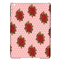 Pink Polka Dot Background With Red Roses iPad Air Hardshell Cases