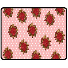 Pink Polka Dot Background With Red Roses Double Sided Fleece Blanket (medium)