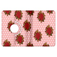 Pink Polka Dot Background With Red Roses Kindle Fire HDX Flip 360 Case