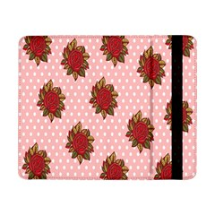 Pink Polka Dot Background With Red Roses Samsung Galaxy Tab Pro 8 4  Flip Case