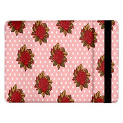 Pink Polka Dot Background With Red Roses Samsung Galaxy Tab Pro 12.2  Flip Case