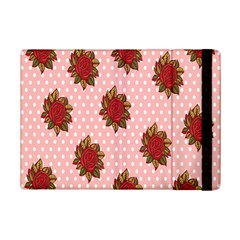 Pink Polka Dot Background With Red Roses Ipad Mini 2 Flip Cases