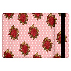 Pink Polka Dot Background With Red Roses Ipad Air Flip