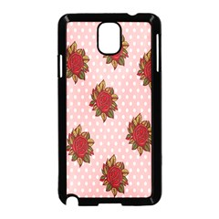 Pink Polka Dot Background With Red Roses Samsung Galaxy Note 3 Neo Hardshell Case (black)