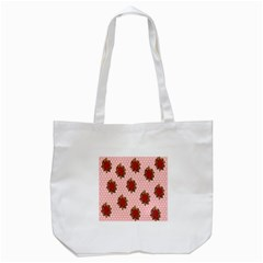Pink Polka Dot Background With Red Roses Tote Bag (White)