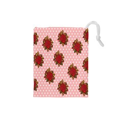 Pink Polka Dot Background With Red Roses Drawstring Pouches (small)