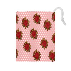 Pink Polka Dot Background With Red Roses Drawstring Pouches (large)