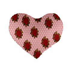Pink Polka Dot Background With Red Roses Standard 16  Premium Flano Heart Shape Cushions