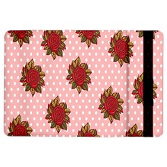 Pink Polka Dot Background With Red Roses Ipad Air 2 Flip