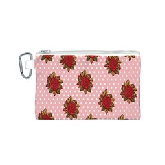 Pink Polka Dot Background With Red Roses Canvas Cosmetic Bag (s)