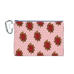 Pink Polka Dot Background With Red Roses Canvas Cosmetic Bag (M)