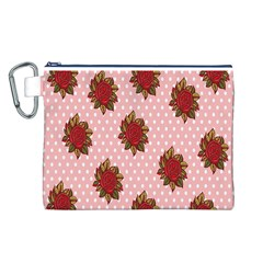 Pink Polka Dot Background With Red Roses Canvas Cosmetic Bag (L)