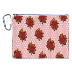 Pink Polka Dot Background With Red Roses Canvas Cosmetic Bag (XXL)