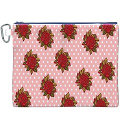 Pink Polka Dot Background With Red Roses Canvas Cosmetic Bag (XXXL)