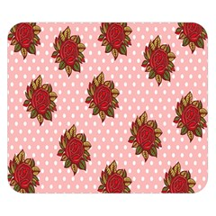 Pink Polka Dot Background With Red Roses Double Sided Flano Blanket (Small)