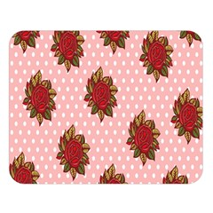 Pink Polka Dot Background With Red Roses Double Sided Flano Blanket (Large)