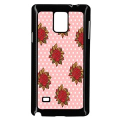 Pink Polka Dot Background With Red Roses Samsung Galaxy Note 4 Case (Black)