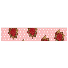 Pink Polka Dot Background With Red Roses Flano Scarf (Small)