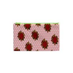 Pink Polka Dot Background With Red Roses Cosmetic Bag (xs)
