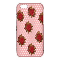 Pink Polka Dot Background With Red Roses iPhone 6/6S TPU Case