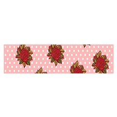 Pink Polka Dot Background With Red Roses Satin Scarf (Oblong)
