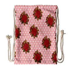 Pink Polka Dot Background With Red Roses Drawstring Bag (Large)