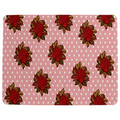 Pink Polka Dot Background With Red Roses Jigsaw Puzzle Photo Stand (Rectangular)