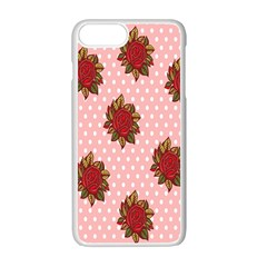 Pink Polka Dot Background With Red Roses Apple Iphone 7 Plus White Seamless Case